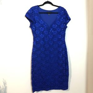 Blue Flower Detail Sequined Cocktail Dress - 14